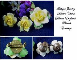 Brooch Set Signed Denton China Made In England | Antique Brooch Demi