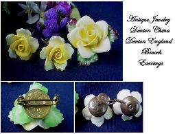 Brooch Set Signed Denton China Made In England Antique Brooch Demi
