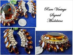 RARE Signed MADELEINE Vintage Jewelry | Madeleine Signed Brooch Set
