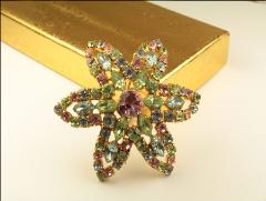 Vintage multicolored crystal rs brooch pin, marked Made in Austria