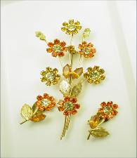 A Large Stem of Flowers Brooch and Matching Earrings