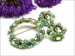 Warner Designer Signed Brooch Earrings Parure