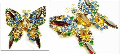 Mulit-colored Vintage Brooch Butterfly