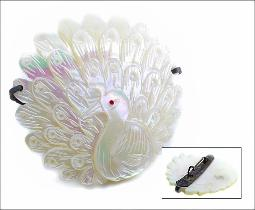 Mother Of Pearl MOP Peacock Brooch Pin