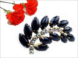 Black Floral AB Stem Juliana Brooch