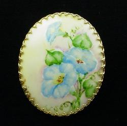 Hand Painted Floral Antique Brooch