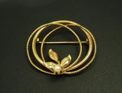 Signed C INC 1/20 12K GF | Golden Pearl Brooch