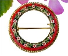 Circle Micro Mosaic Brooch Pin