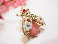 Flowered vintage bee - bug pin with glass pink cabochon and red rhinestone eyes