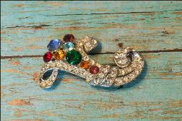 Colorful Paved Vintage Brooch