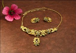 Floral and Gold, Coro Signed Necklace Demi Parure