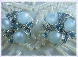 Signed STAR Silver Earrings with Blue Sets and Blue Moonstones