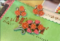 Coral Celluloid Brooch and Earrings | Vintage Flower Jewelry