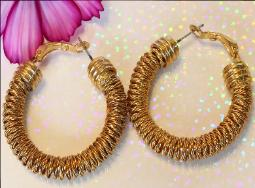 Vintage Gold Hoop Earrings - Swirl