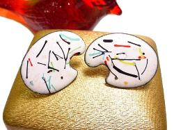 Painted Enamelware Earrings
