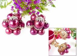 Dark Pink Champaign Capped Bead Earrings