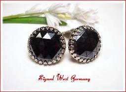 Black Faceted Spinel Signed West Germany Clip Earrings