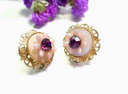 Gold Pinks and Purples Screwback Earrings