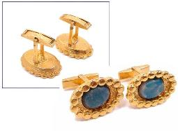 Men's Cufflinks Blue Stones In Center