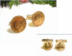 Gold wash Ccuff Links Indian Head Cent | 1902 & 1907