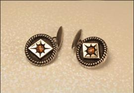 Vintage Black Silver Cufflinks, Mens Jewelry