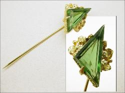 Long Stick Pin Green Triangle
