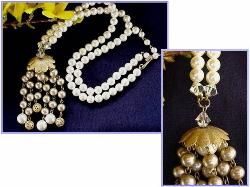 Simulated White Pearls with Tassel