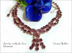 Deep Rich Amethyst and Rose Vintage Necklace
