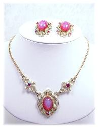 Pink Satin Rhinestone necklace with matching earrings