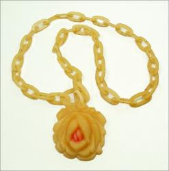 Yellow Carved Celluloid Rose and Chain, Red Center Necklace