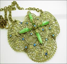 Victorian Necklace Cobalt blue hand cut paste shinning stones, stamped brass filigree, nestled with long slender green glass or chalcedony