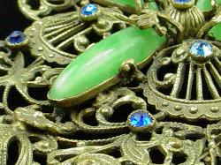 Green Chalcedony Stones And Blue Past Stones | Victorian Jewelry