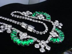 Articulated Blueish Green and Crystal Glass Baguettes