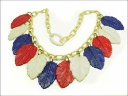 Carved Red White Blue Leaves Celluloid Necklace