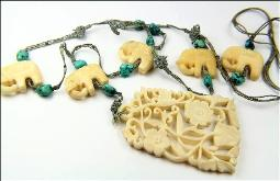 Antique Carved Elephant Necklace, Seafoam Turquoise