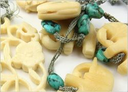 Antique Seafoam Nuggets within the hand sewn threaded chain