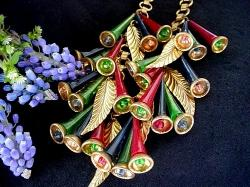 Volumes Of colorful Bells with Clappers Miriam Haskell Necklace