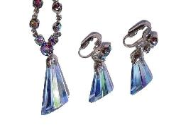 Art Deco Beveled Glass Necklace and Earrings