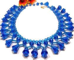 Cleopatra Blue Fringe Lucite | Designer Signed W. GERMANY Necklace