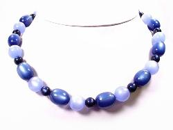 Vintage Blue Thermoset Necklace | Elongated Oval and Rounds