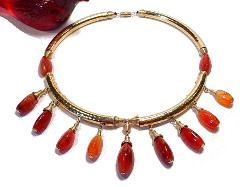 Gold Necklace with Elongated Carnelian Drops