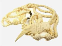 Vintage Plastic(?) Carved Bird Necklace