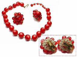 Cherry Red Necklace & Earrings. Filigree Earring Backs