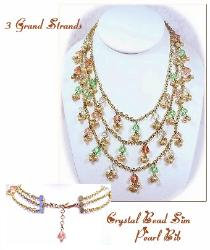 Lavish Crystal Bib Vintage Necklace | Three Strands Crystal Dangles