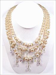 Dripping Crystal /Pearl Bib Necklace and Earrings