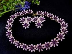 Lilac Aster Flower Necklace and Earrings