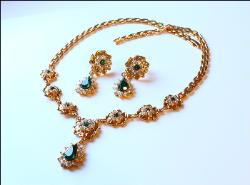 Green Pear Stones, Crystal Stones, and Golden Settings