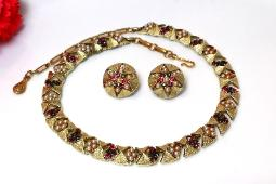 Signed Coro matching necklace and earrings, heavy goldtome with multiple colors