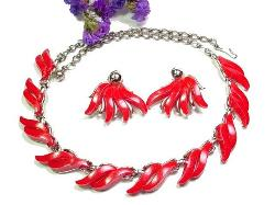 Fire Red Flames Silvertone Necklace Earring Set