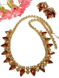 Necklace filled with Pear and Round RS, Earrings Match